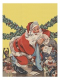Santa Claus with toys and Christmas stocking Giclee Print