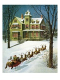 A Miniature Sled, and Eight Tiny Reindeer Giclee Print by William Roger Snow