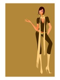 Woman wearing high heeled boots Giclee Print