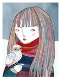 A Girl with a Small Owl Sitting on Her Hand Giclee Print