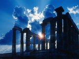 Sun Behind Temple of Poseidon Photographic Print by Larry Lee