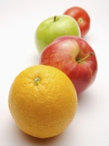 Four fruits in a row Photographic Print