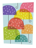 Raining umbrellas Giclee Print by Anne Bryant