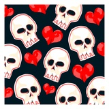 Heart And Skull Pattern on Black Giclee Print