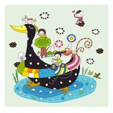 Side view of children enjoying, traveling on duck Giclee Print