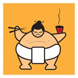 Sumo eating bowl of noodles Giclee Print by Sabet Brands