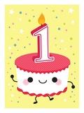 First Birthday Cupcake Giclee Print
