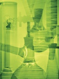 Laboratory Glassware Montage in Green Photographic Print by Steve Drake