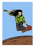 Low angle view of a man skateboarding Giclee Print