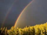 A Double Rainbow During a Storm in Banff National Parknear Banff Alberta, Canada. Photographic Print by Josh McCulloch