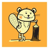 Cartoon beaver Lámina giclée por Sabet Brands