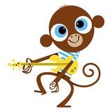 Monkey playing guitar Giclee Print by Kirsten Ulve