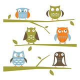 Owls on a branch Giclee Print by Anne Bryant