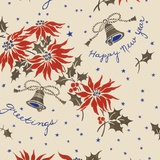 Happy new year pattern with flowers and bells Photographic Print