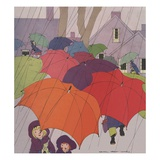 Children in rain with umbrellas, Giclee Print