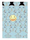 Clown Face Among Blue People Giclee Print