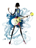 Young woman holding guitar Giclee Print