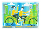 Couple Riding Bicycle Giclee Print