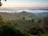 Ground fog at dawn in Val d'Orcia Fotografie-Druck von Peter Adams