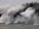 Fierce Lake Superior waves pound Minnesota&#39;s north shore Photographic Print by Layne Kennedy