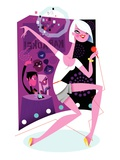 Woman singing karaoke Giclee Print by Kirsten Ulve