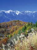 Mountain range and autumn foliage, Hakuma Miyama, Nagano Prefecture, Japan Photographic Print