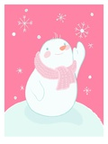 A Snowman Reaching for a Falling Snowflake Giclee Print