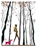 Side profile of a woman walking with her dog Giclee Print