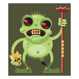 Monster holding scepter Giclee Print by Matthew Laznicka