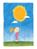 Girl holding a sun balloon Giclee Print by Harry Briggs