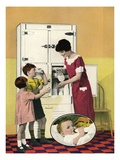 Illustration of Mother Serving Milk to Children Giclee Print