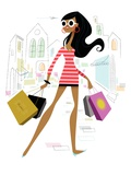 Glamourous woman shopping Giclee Print by Kirsten Ulve