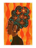 Woman with Flowers in Beehive Hair-do Giclee Print