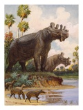 The six-horned uintatheres thrived in Uinta County, Wyoming Giclee Print by National Geographic Society