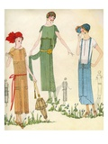 Illustration of Women in 1920s Fashion Giclee Print