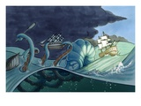 Ship Skirts Sea Monster and Storm Clouds Giclee Print