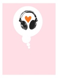 A Thought Bubble with a Heart and Headphones Giclee Print