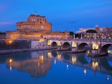 Sant'Angelo Bridge and Castel Sant'Angelo at night Photographic Print by Sylvain Sonnet