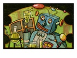 Robot mixing drink Giclee Print by Matthew Laznicka