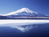 Mt. Fuji reflected in Yamanakako Lake at winter, Yamanashi Prefecture, Japan Photographic Print