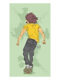 Rear view of young man skateboarding Giclee Print