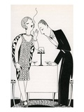 Illustration of Couple Smoking After Dinner by Anne Harriet Fish Giclee Print
