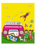 Boy and a girl sitting on a headphone and listening to music from a cassette player Giclee Print
