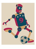 Robot playing soccer Giclee Print by Sabet Brands