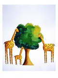 Giraffes Eating from Tree Giclee Print by Julie Nicholls