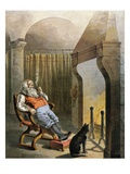 Illustration of Santa Claus sitting by fire on Christmas Eve by William Roger Snow Giclee Print