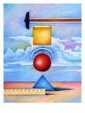Geometric Shapes and Ruler Giclee Print