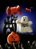 Halloween biscuits (pumpkin, ghost and bats) Photographic Print by Huw Jones