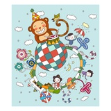 Children playing with toy monkey Giclee Print