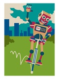 Robot hopping on a pogo stick Giclee Print by Sabet Brands